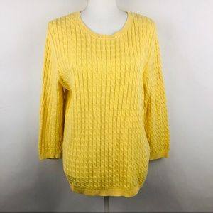 LANDS' END Women's Pullover Sweater Large Yellow